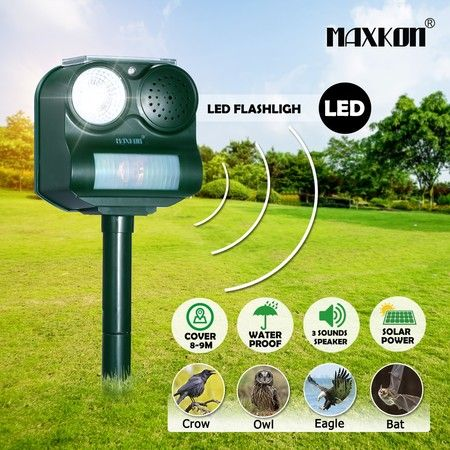 Maxkon Bird Repeller Repellent PIR Motion Sensor Solar Power Animal Cat Pest Control