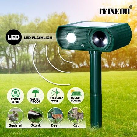 Maxkon Ultrasonic Solar Power Animal Repellent Pest Control Cat Mouse Bird Repeller