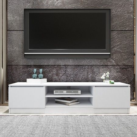 TV Stand Entertainment Unit 2 Doors Wooden Storage Cabinet Furniture - White