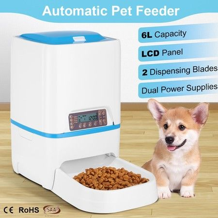 6L Automatic Dog Pet Feeder Timed Auto Pet Cat Food Dispenser w/Voice Recorder