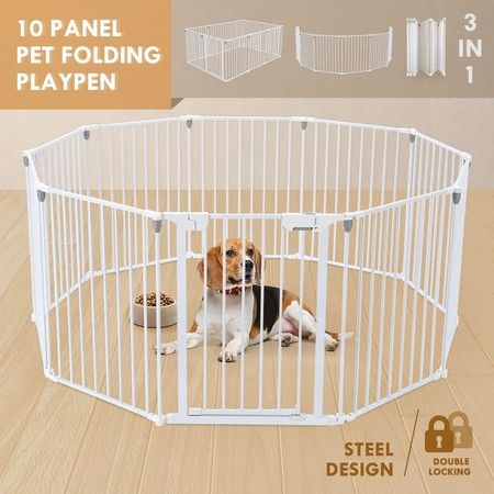 3 in 1 Baby Playpen 10 Panel Toddler Kids Safety Gates Interactive Child Barrier