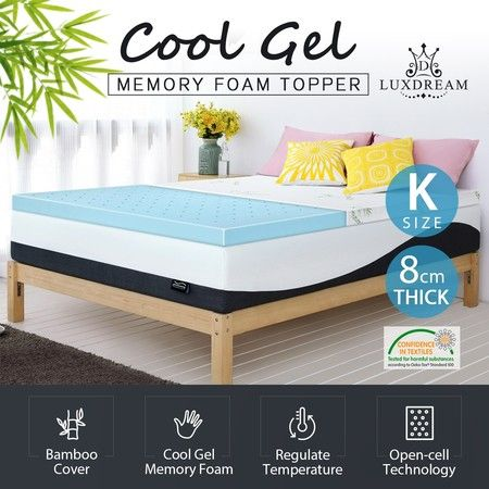 8cm King Cool Gel Memory Foam Mattress Topper Bamboo Cover Bedding