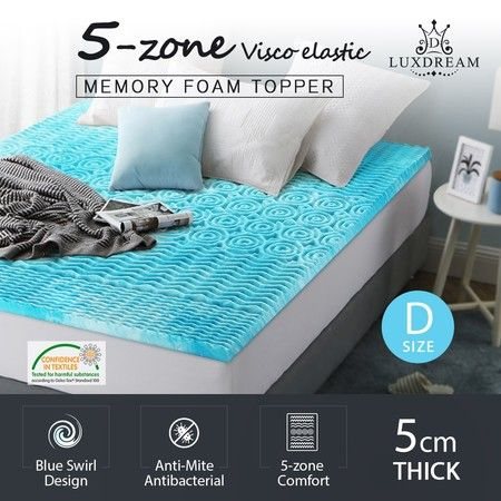 5cm Double Cool Gel Memory Foam Mattress Topper 5-Zone Mattress Bedding