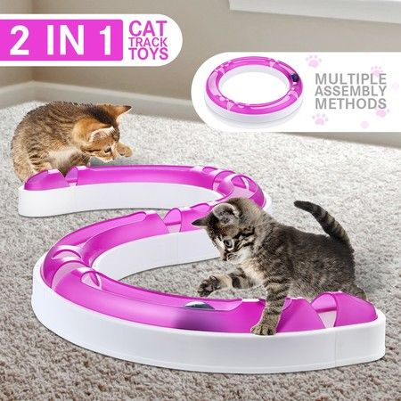 Interactive Cat Track and Ball Toys Pet Track Ball Kitten Training Senses Play Chase Game