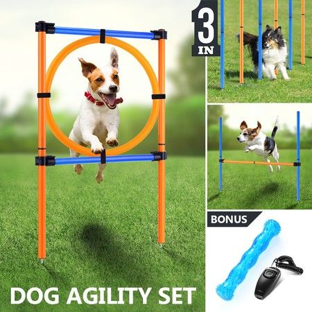 Outdoor Dog Training Weave Poles Portable Pet Games Agility Exercise Jump Practice Set