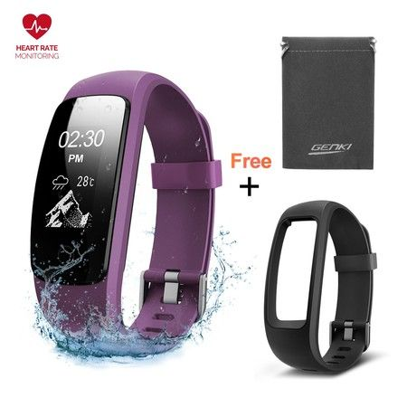 Fitness Tracker Smart Watch Activity Sleep Heart Rate Monitor Waterproof Sports Wristband - Black & Purple