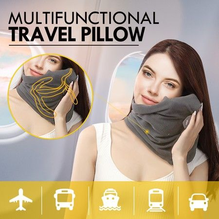 New Portable Neck Pillow Soft Comfortable Neck Support Sitting Nap Washable Grey