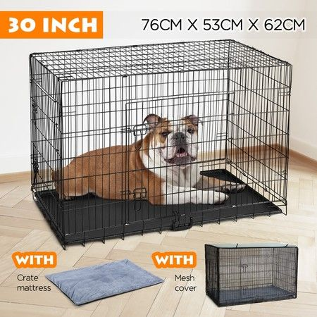 "30"" Dog Crate Kennel Collapsible Metal Pet Cat Puppy Cage"