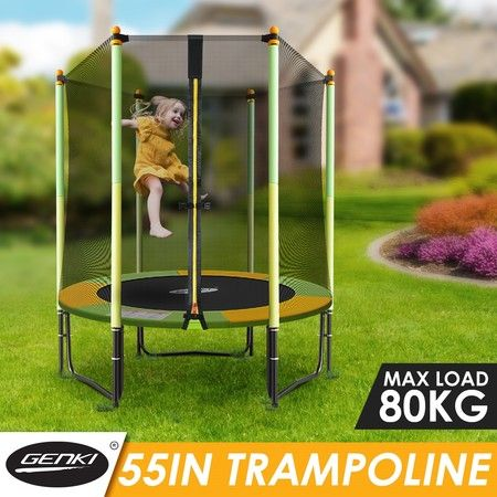 "Genki 55"" Round Kids Mini Trampoline Indoor Outdoor Rebounder w/Safety Enclosure Net"