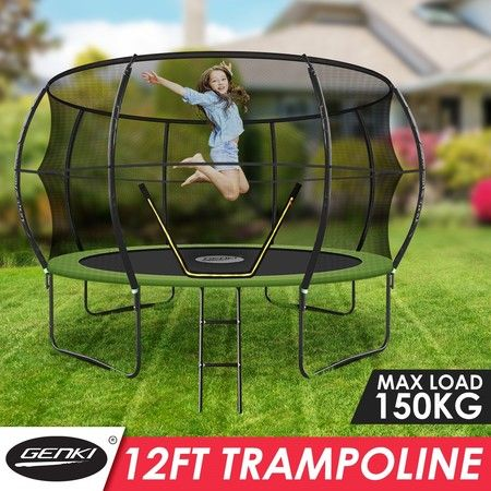 Genki 12ft Round Kids Trampoline Exercise Rebounder with Safety Enclosure Net Ladder