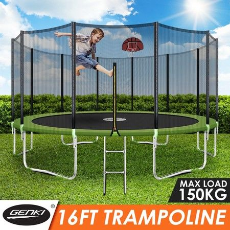 Genki 16ft Round Kids Trampoline Set with Safety Enclosure Net Basketball Hoop Ladder