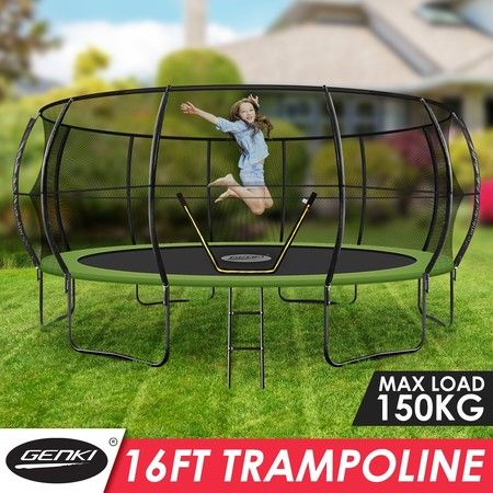 Genki 16ft Round Kids Trampoline Exercise Rebounder with Safety Enclosure Net Ladder