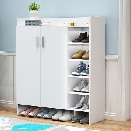 Modern Shoe Cabinet Rack Storage Cupboard Shelf Organiser with Doors 21 Pairs White
