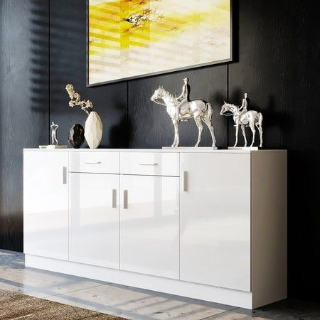 Modern Sideboard Buffet Storage Cabinet High Gloss Front 4 Doors Cupboard White