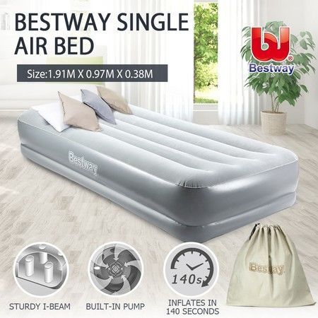 Bestway Single Air Mattress Inflatable Flocked Bed Built-in AC Pump Home Camping