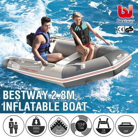 Bestway 2.8M Inflatable Boat Fishing Kayak Rib Dinghy Tender Raft W/Oars