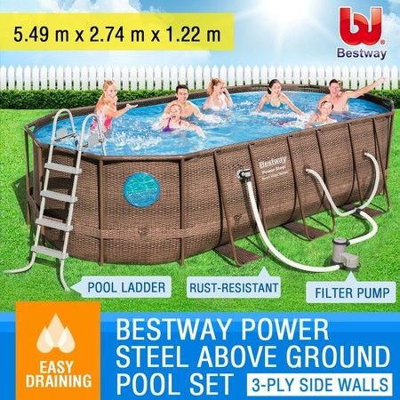 Bestway Steel Frame Above Ground Swimming Pool Filter Pump 5.49 x 2.74 x 1.22M