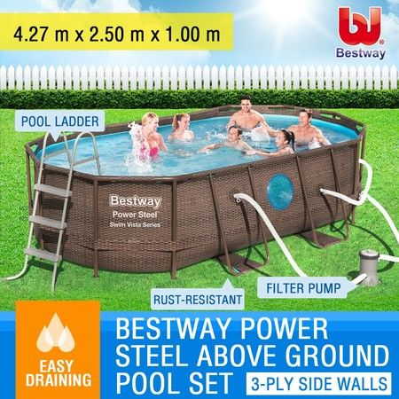 Bestway Steel Frame Above Ground Swimming Pool Filter Pump 4.27 x 2.5 x 1M