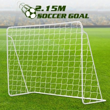 215CM Metal Soccer Goal Portable Football Net Frame Backyard Park Training Set