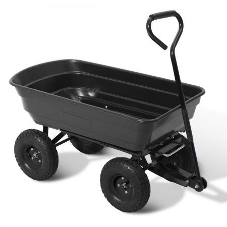 75L Garden Dump Cart with 85 Degree Tipping Angle - Black