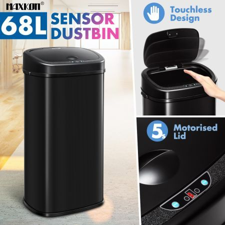 68L Motion Sensor Bin Automatic Touchless Stainless Steel Kitchen Waste Rubbish Trash Can - Black