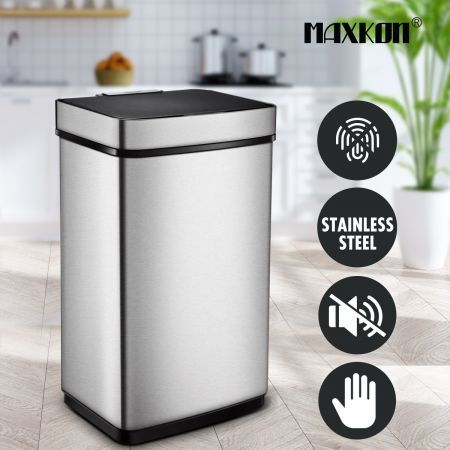 60L Motion Sensor Bin Automatic Touchless Stainless Steel Kitchen Waste Rubbish Trash Can - Silver