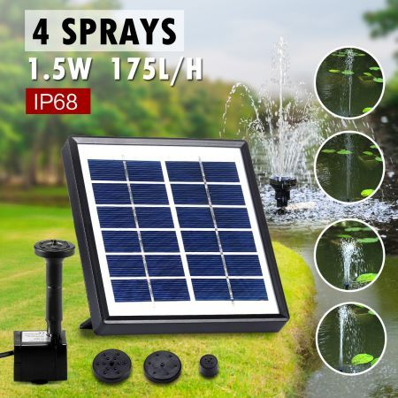 1.5W Outdoor Solar Power Water Fountain Pond Pool Pump Kit