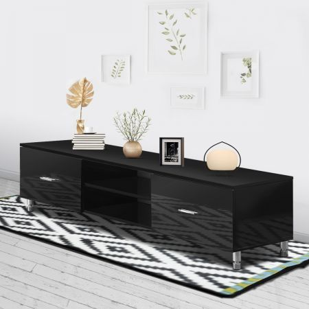 TV Stand Wooden Entertainment Cabinet 160cm Lowline Storage Gloss Unit Black