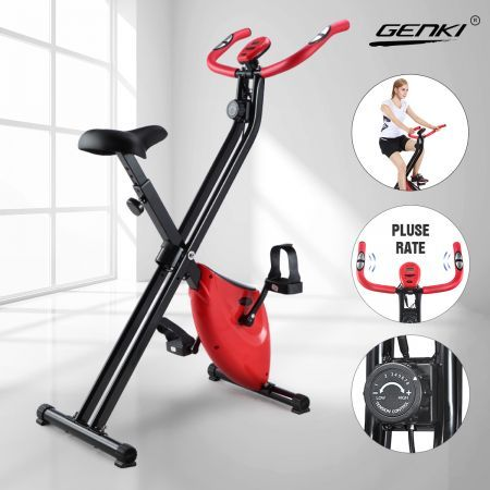 Genki Folding Exercise Bike Magnetic Upright X-Bike Bicycle Cycling Home Gym Trainer w/ Pluse