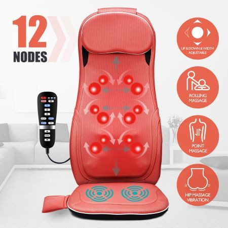 Full Body Back Neck Car Seat Massager Cushion Shiatsu Massage Chair Pad w/Heat
