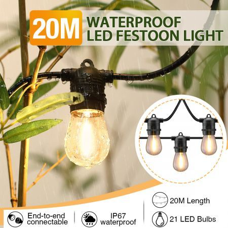 20M Waterproof LED Festoon String Lights w/21 Bulbs