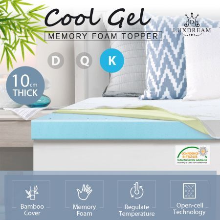 10cm King Size Cool Gel Memory Foam Mattress Topper Underlay Bamboo Cover