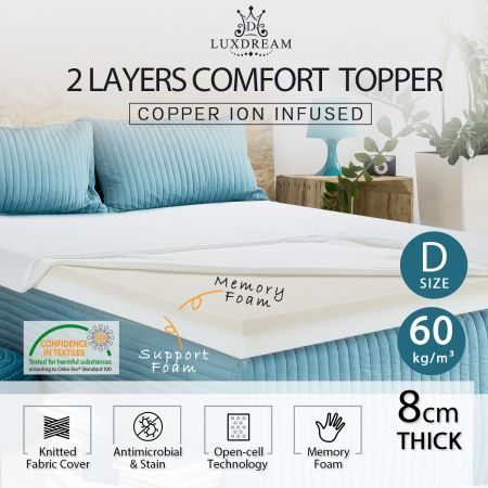 8cm Double Size Copper Infused Memory Foam Mattress Topper Knitted Fabric Cover