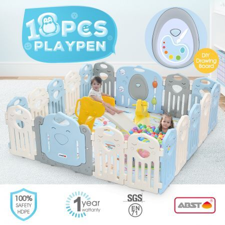 ABST 18 Panels Baby Playpen Interactive Kids Safety Gates W/Lock Door & Game Board