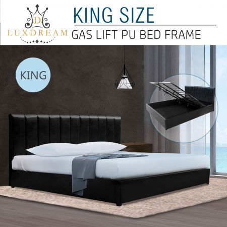 LUXDREAM King Size Gas Lift PU Leather Bed Frame Headboard Wooden Bed Base