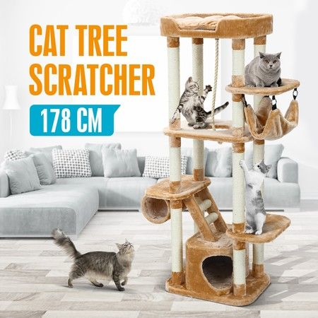 178CM Cat Tree Scratching Post Sisal Pole Climbing Furniture House Gym Multi Level