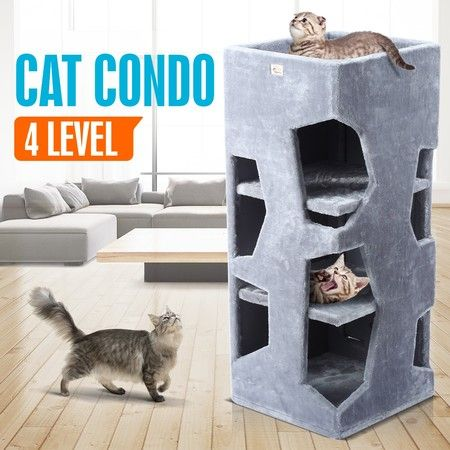 Modern Cat Condo Scratching Post Sisal Scratcher Furniture House Gym 4 Level 100CM