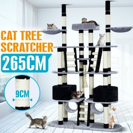 XL Cat Tree Scratching Post Sisal Pole Climbing Furniture House Gym Multi Level 265cm