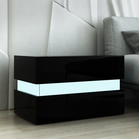 Bedside Table 2-Drawer Side Nightstand High Gloss Modern Bedroom Cabinet - Black