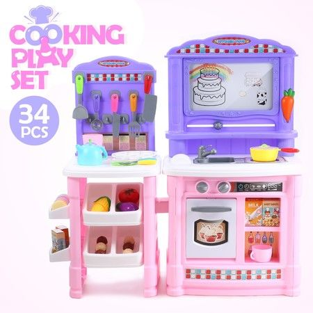 Kids Pretend Play Kitchen Cooking Set Toys Children Home Cookware Toddler