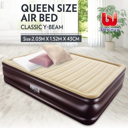 Bestway Queen Inflatable Flocked Mattress Tritech Airbed Home Camping 203 x 152 x 43cm
