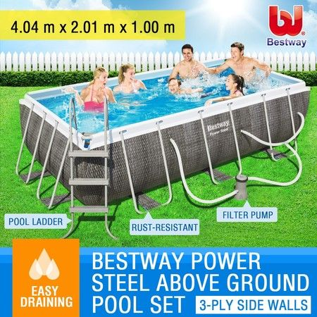 Bestway Metal Frame Above Ground Swimming Pool Set Rectangular Shape 4 x 2 x 1M