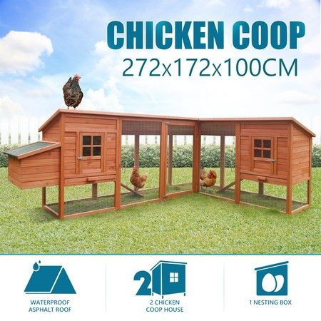 2.72M Extra Large Chicken Coop Run Rabbit Hutch Guinea Pig Cage Duck Hen House