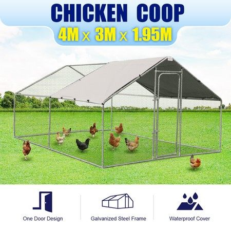 Walk-in Steel Chicken Coop Run Enclosure Rabbit Hutch Outdoor Duck Hen House 4X3M