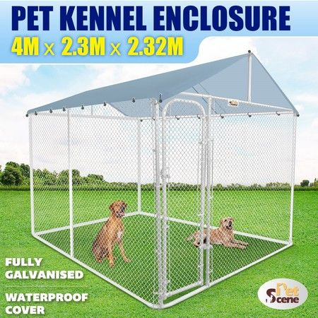 4mx2.3m Dog Kennel Run Puppy Pet Enclosure Playpen Animal Fencing Fence Cage