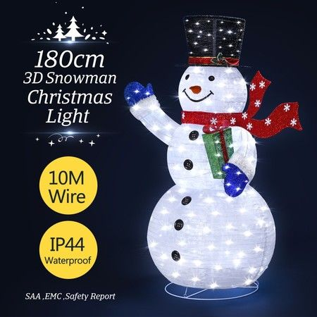 3D Christmas Snowman LED Light - White