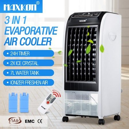 MAXKON 7L Evaporative Air Cooler Quiet Fan Ionizer Button 3 Modes W/Remote Control Black