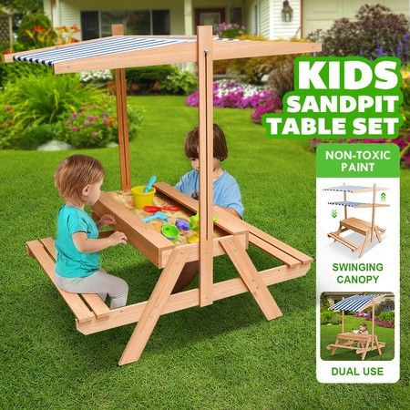 Kids Sand Pit Wooden Sandpit Picnic Table Set Children Sandbox Play Toy w/Canopy