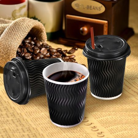 Disposable Coffee Cups 8oz 50 Cups & 50 Lids - Black