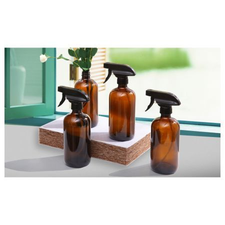 4pcs Amber Glass Spray Bottles Trigger Sprayer 500ML
